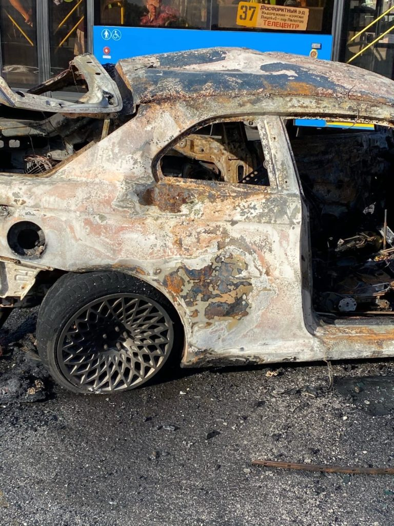 Авария-Курган-загорелся автомобиль